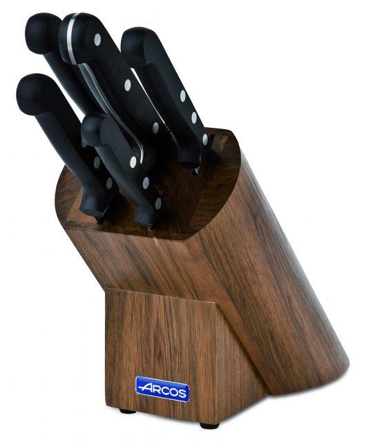 סט 5 סכינים ידית בקלית בבלוק עץ Universal