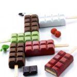 סט תבנית ומקלות להכנת טבליות שוקולד 4 שקעים