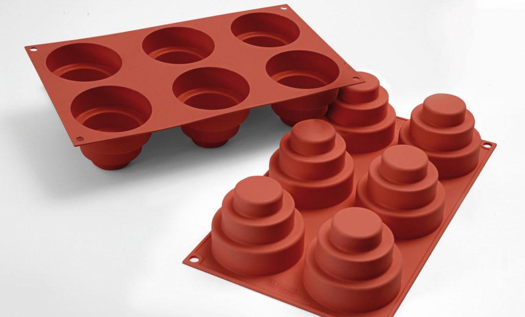 תבנית סיליקון מיני עוגה 3 קומות 6 שקעים