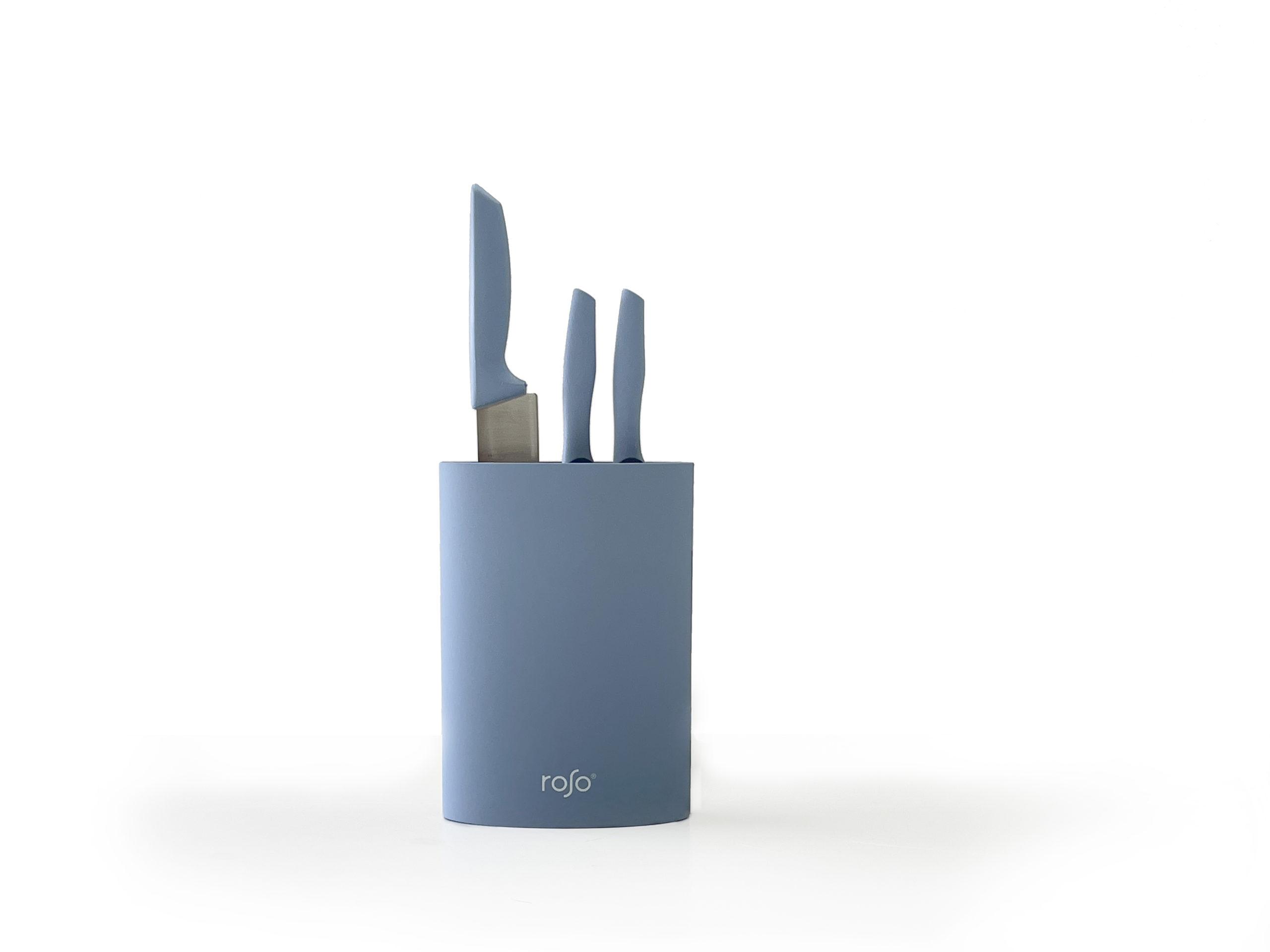 סט מעמד 3 סכינים הכולל סכין שף Mood Collection Blue