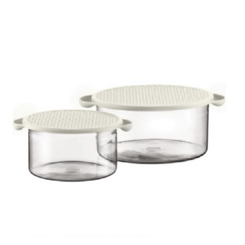 זוג קערות זכוכית עם מכסה סיליקון HOT POT